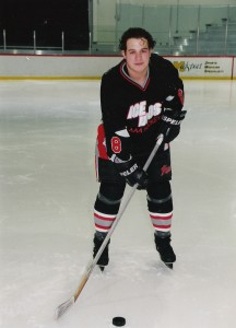 Much-older Frankie, when he played AAA hockey for the Ann Arbor (MI) Ice Dogs. Team photo; I cannot take credit for it.