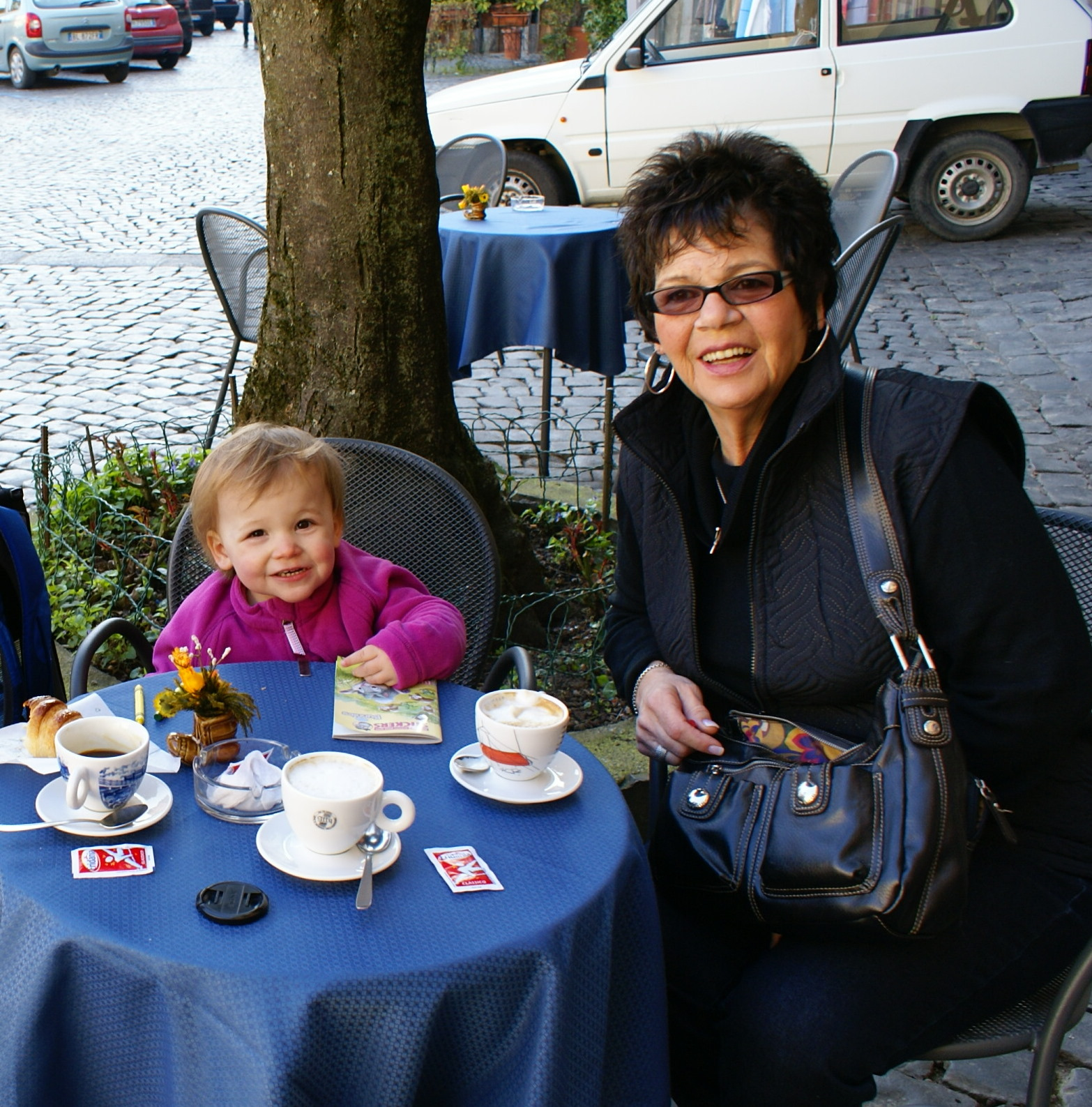 Lucia & Mom at a street-side cafe in Orvieto, Italy.